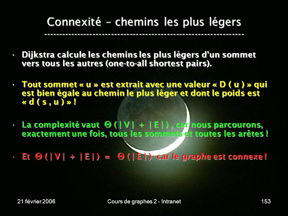 21 février 2006Cours de graphes 2 - Intranet153 Connexité – chemins les plus légers -----------------------------------------------------------------