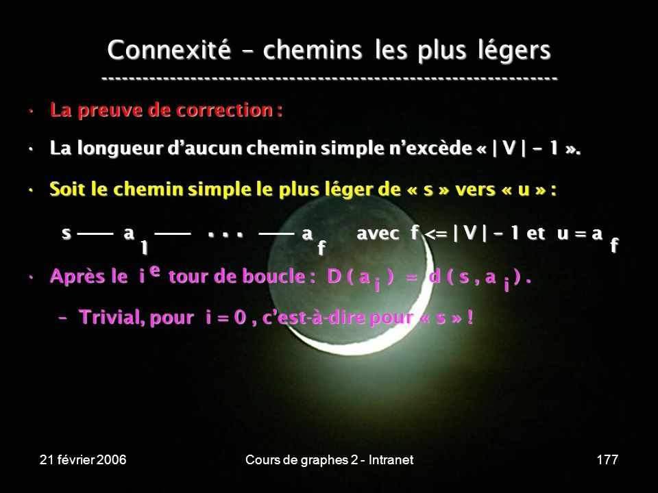 21 février 2006Cours de graphes 2 - Intranet177 Connexité – chemins les plus légers -----------------------------------------------------------------