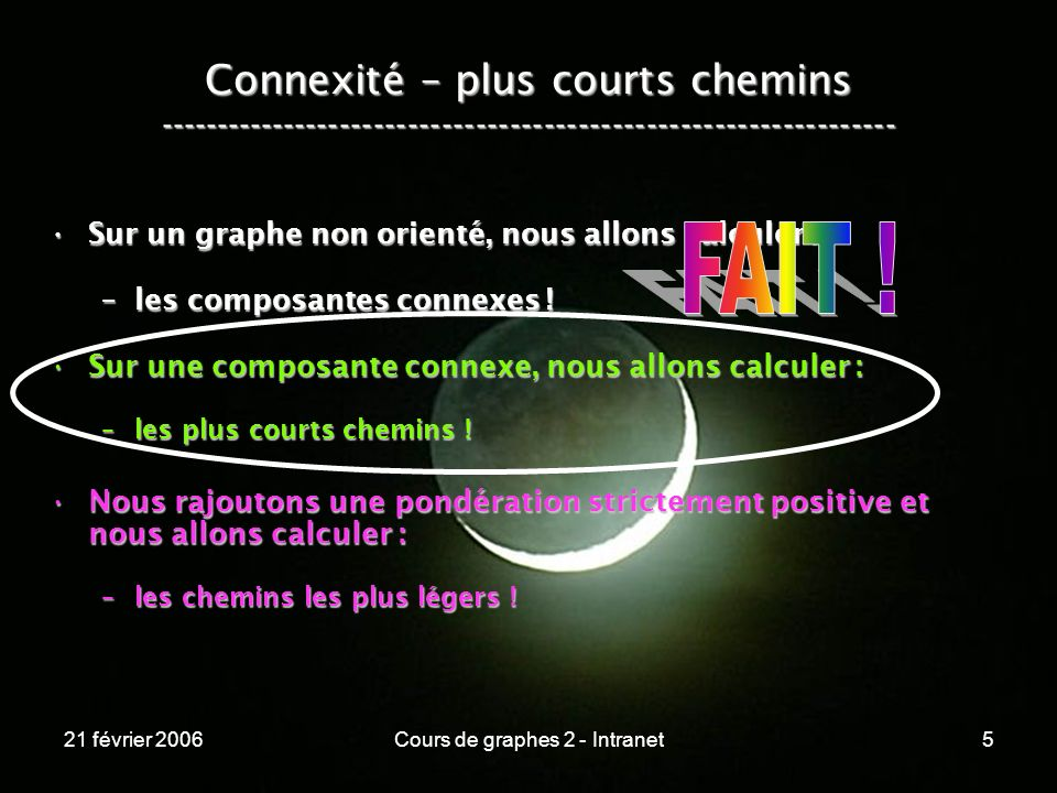 21 février 2006Cours de graphes 2 - Intranet156 Connexité – chemins les plus légers ----------------------------------------------------------------- Bellmann-Ford calcule les chemins les plus légers pour toutes les paires de sommets (all-to-all shortest pairs).Bellmann-Ford calcule les chemins les plus légers pour toutes les paires de sommets (all-to-all shortest pairs).