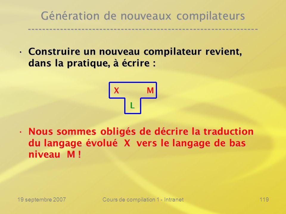 19 septembre 2007Cours de compilation 1 - Intranet119 Génération de nouveaux compilateurs ------------------------------------------------------------