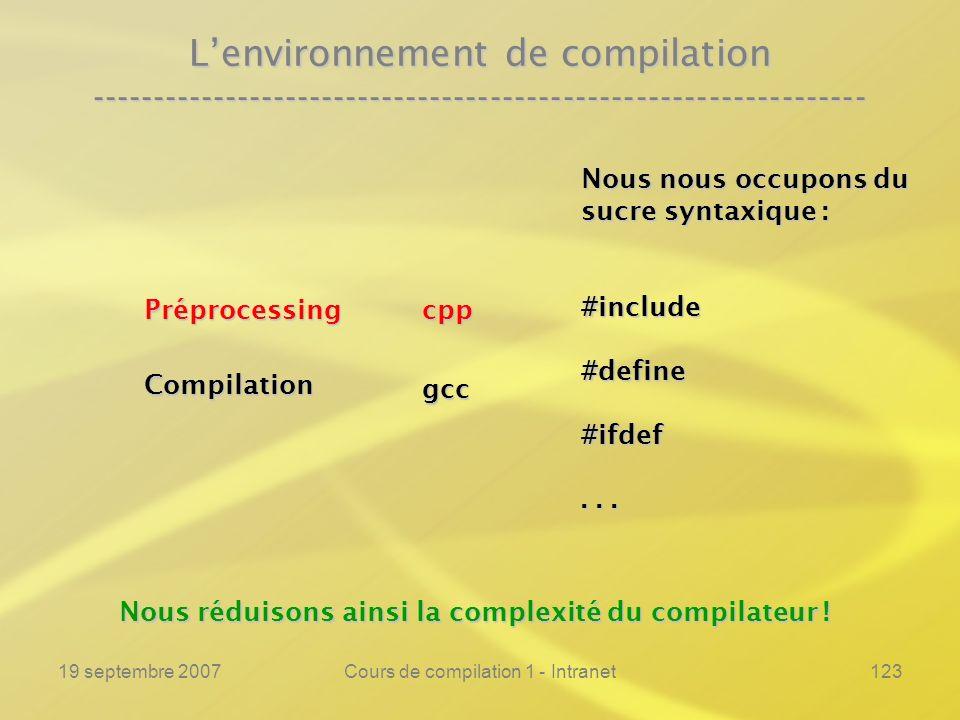 19 septembre 2007Cours de compilation 1 - Intranet123 Lenvironnement de compilation ---------------------------------------------------------------- C