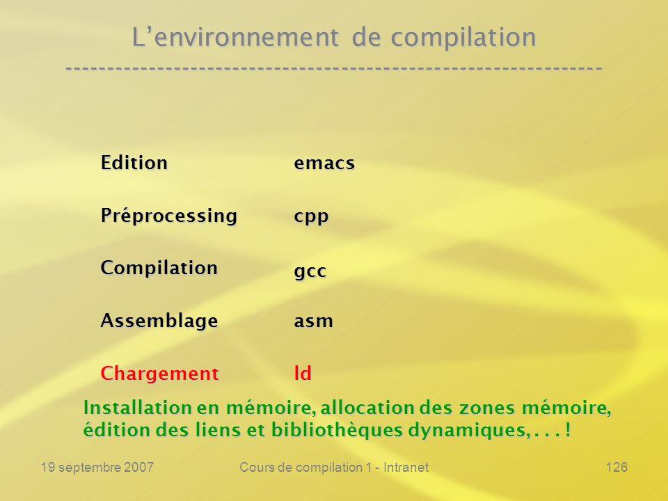 19 septembre 2007Cours de compilation 1 - Intranet126 Lenvironnement de compilation ---------------------------------------------------------------- C