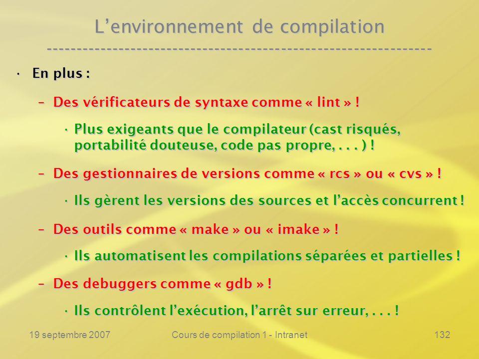 19 septembre 2007Cours de compilation 1 - Intranet132 Lenvironnement de compilation ---------------------------------------------------------------- E
