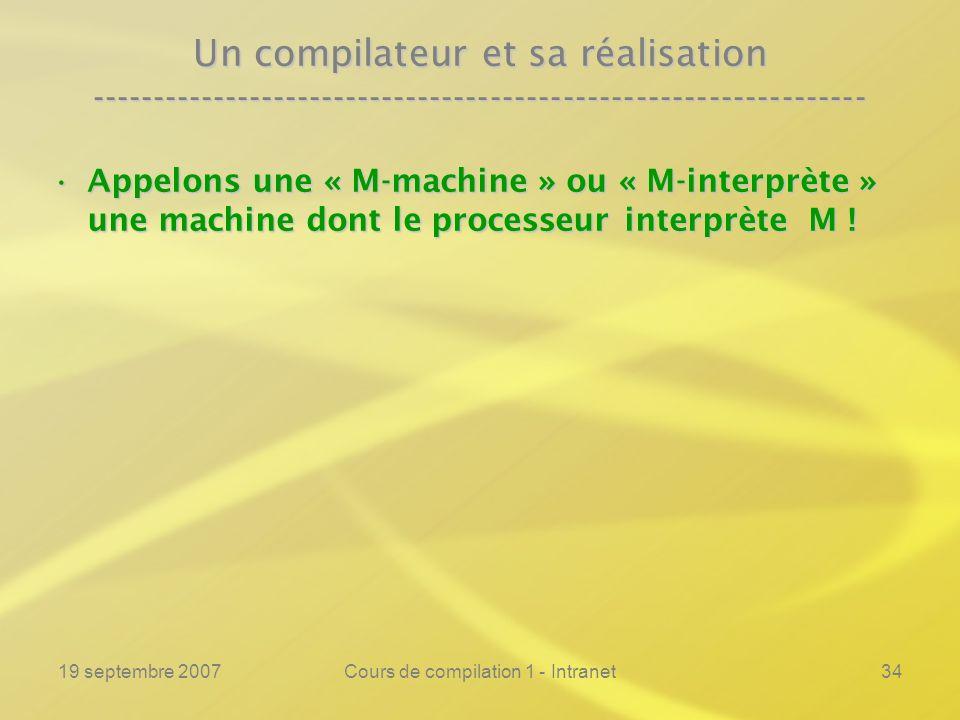 19 septembre 2007Cours de compilation 1 - Intranet34 Un compilateur et sa réalisation ----------------------------------------------------------------