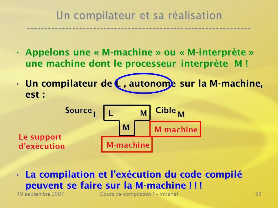 19 septembre 2007Cours de compilation 1 - Intranet39 Un compilateur et sa réalisation ----------------------------------------------------------------