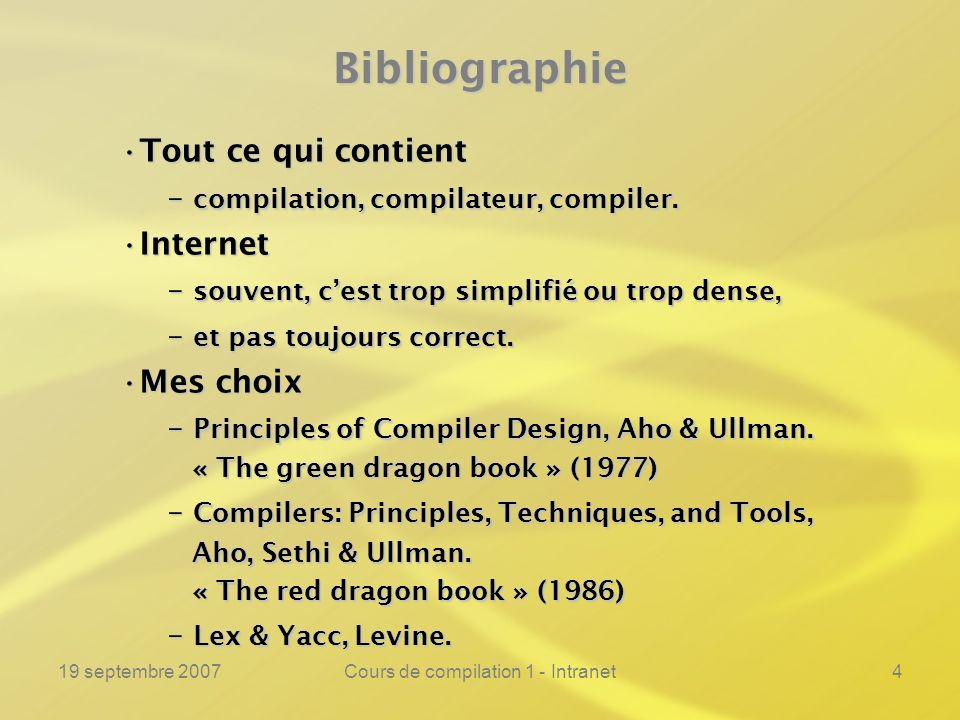 19 septembre 2007Cours de compilation 1 - Intranet4Bibliographie Tout ce qui contientTout ce qui contient – compilation, compilateur, compiler. Intern