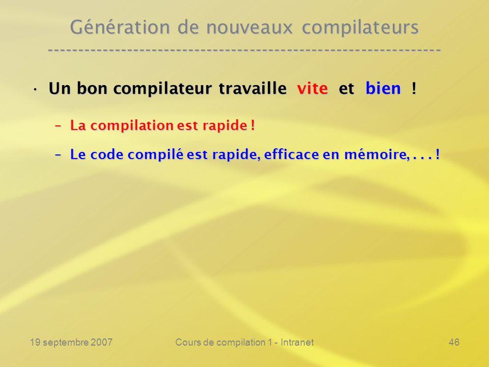 19 septembre 2007Cours de compilation 1 - Intranet46 Génération de nouveaux compilateurs -------------------------------------------------------------