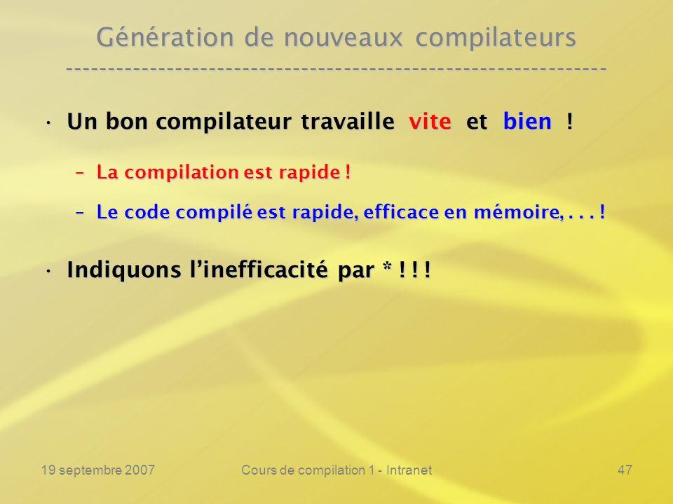 19 septembre 2007Cours de compilation 1 - Intranet47 Génération de nouveaux compilateurs -------------------------------------------------------------