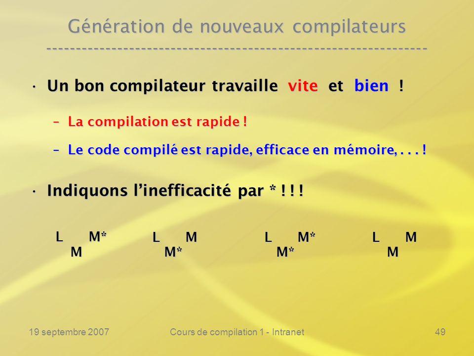 19 septembre 2007Cours de compilation 1 - Intranet49 Génération de nouveaux compilateurs -------------------------------------------------------------