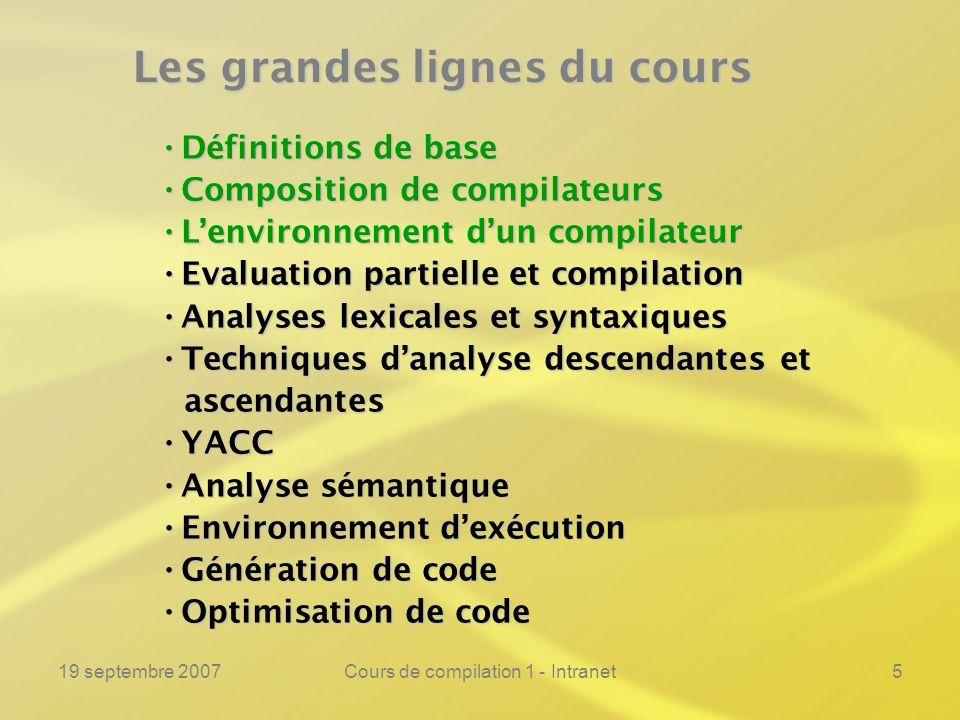 19 septembre 2007Cours de compilation 1 - Intranet5 Les grandes lignes du cours Définitions de base Définitions de base Composition de compilateurs Co