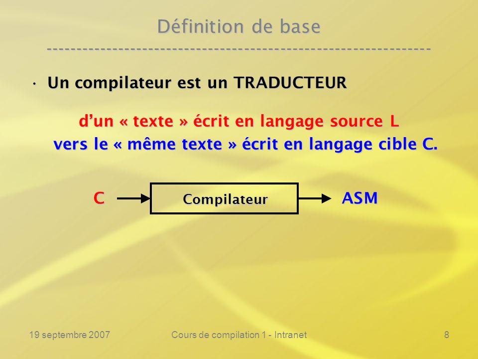 19 septembre 2007Cours de compilation 1 - Intranet8 Définition de base ---------------------------------------------------------------- Un compilateur