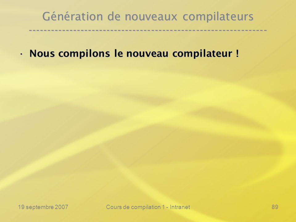 19 septembre 2007Cours de compilation 1 - Intranet89 Génération de nouveaux compilateurs -------------------------------------------------------------