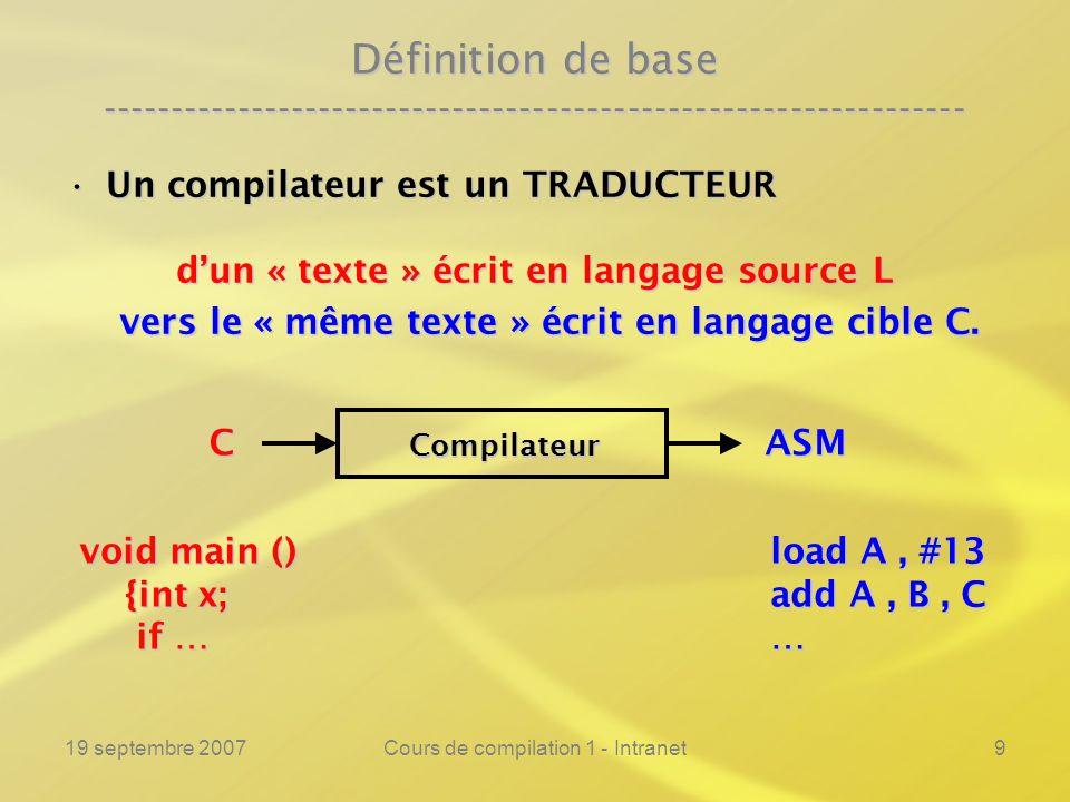 19 septembre 2007Cours de compilation 1 - Intranet9 Définition de base ---------------------------------------------------------------- Un compilateur