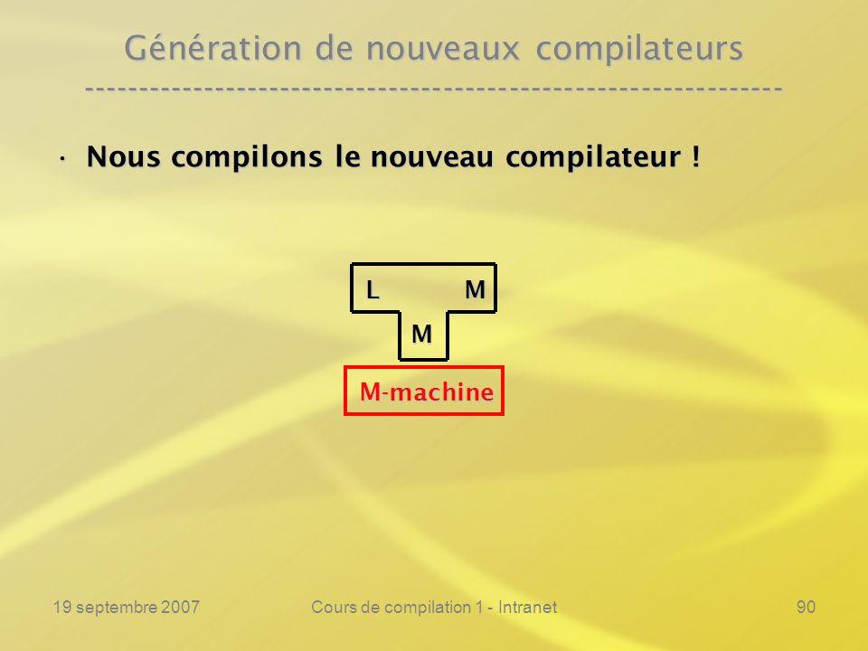 19 septembre 2007Cours de compilation 1 - Intranet90 Génération de nouveaux compilateurs -------------------------------------------------------------