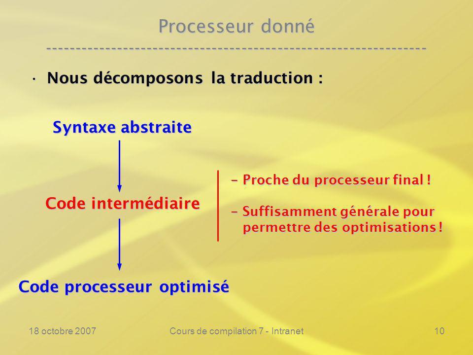 18 octobre 2007Cours de compilation 7 - Intranet10 Processeur donné ---------------------------------------------------------------- Nous décomposons la traduction :Nous décomposons la traduction : Syntaxe abstraite Code intermédiaire Code processeur optimisé - Proche du processeur final .