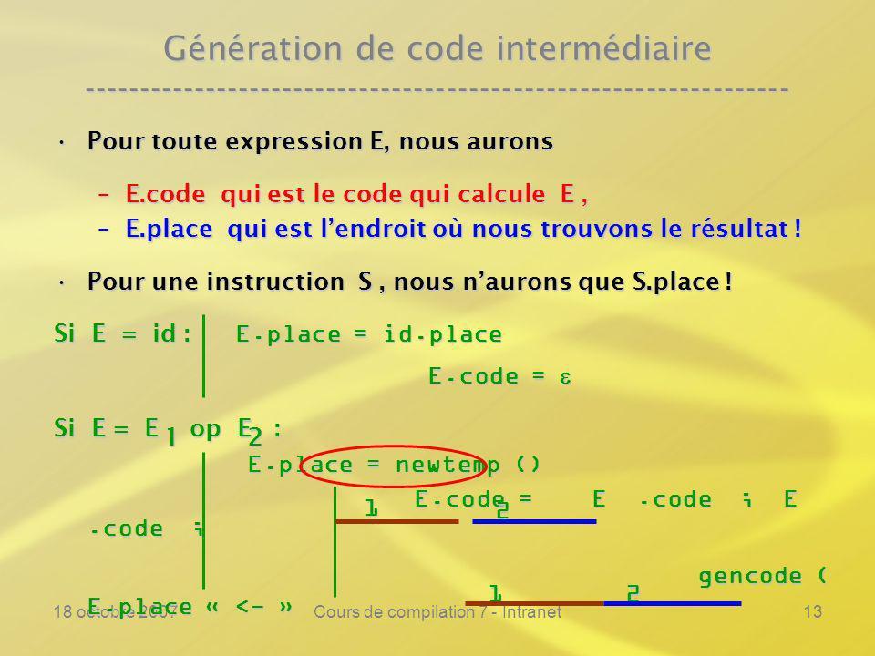 18 octobre 2007Cours de compilation 7 - Intranet13 Génération de code intermédiaire ---------------------------------------------------------------- Pour toute expression E, nous auronsPour toute expression E, nous aurons –E.code qui est le code qui calcule E, –E.place qui est lendroit où nous trouvons le résultat .