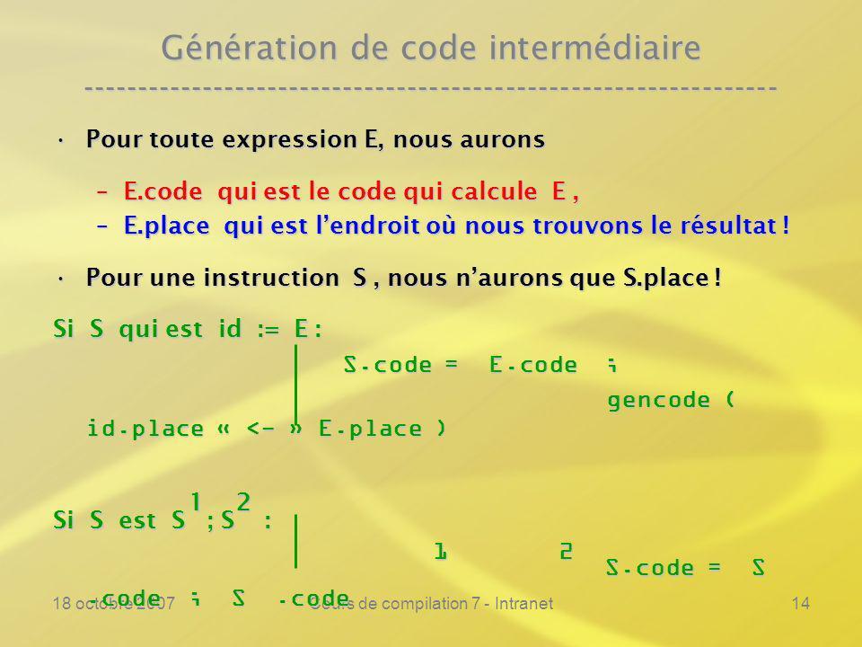 18 octobre 2007Cours de compilation 7 - Intranet14 Génération de code intermédiaire ---------------------------------------------------------------- Pour toute expression E, nous auronsPour toute expression E, nous aurons –E.code qui est le code qui calcule E, –E.place qui est lendroit où nous trouvons le résultat .