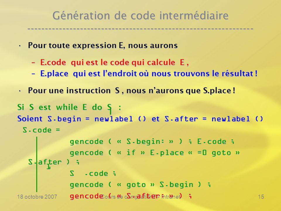18 octobre 2007Cours de compilation 7 - Intranet15 Génération de code intermédiaire ---------------------------------------------------------------- Pour toute expression E, nous auronsPour toute expression E, nous aurons –E.code qui est le code qui calcule E, –E.place qui est lendroit où nous trouvons le résultat .