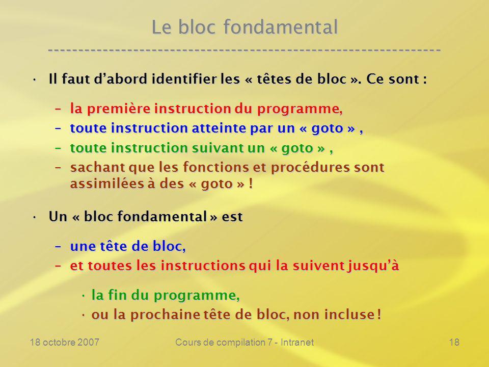 18 octobre 2007Cours de compilation 7 - Intranet18 Le bloc fondamental ---------------------------------------------------------------- Il faut dabord identifier les « têtes de bloc ».