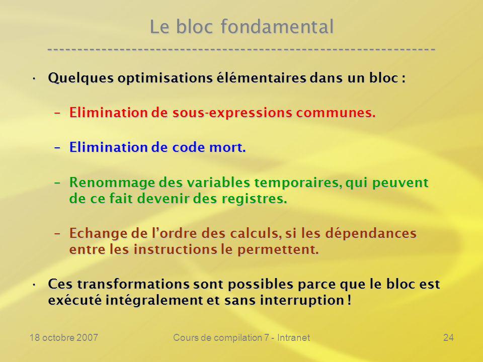 18 octobre 2007Cours de compilation 7 - Intranet24 Le bloc fondamental ---------------------------------------------------------------- Quelques optimisations élémentaires dans un bloc :Quelques optimisations élémentaires dans un bloc : –Elimination de sous-expressions communes.