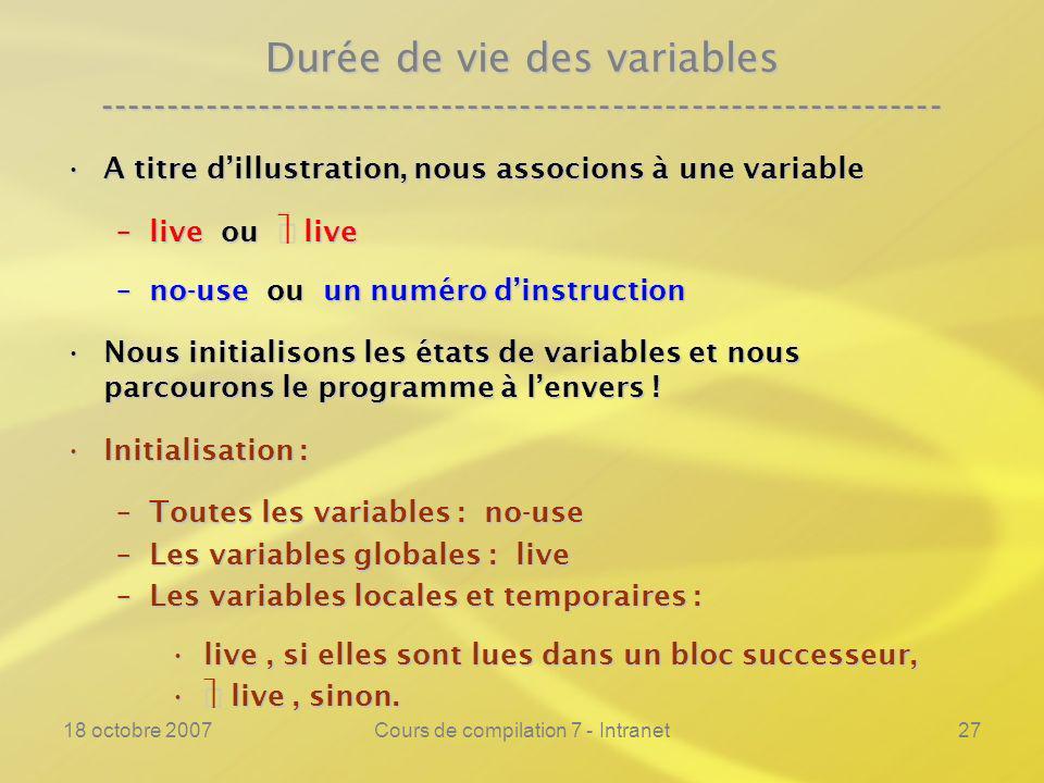 18 octobre 2007Cours de compilation 7 - Intranet27 Durée de vie des variables ---------------------------------------------------------------- A titre dillustration, nous associons à une variableA titre dillustration, nous associons à une variable –live ou live –no-use ou un numéro dinstruction Nous initialisons les états de variables et nous parcourons le programme à lenvers !Nous initialisons les états de variables et nous parcourons le programme à lenvers .