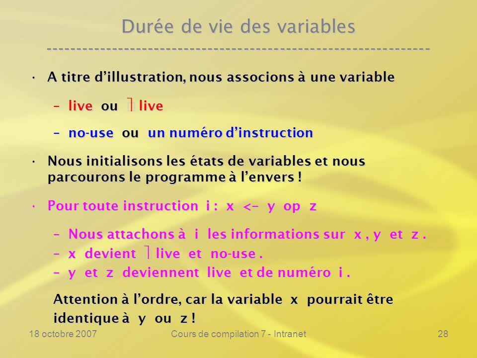 18 octobre 2007Cours de compilation 7 - Intranet28 Durée de vie des variables ---------------------------------------------------------------- A titre dillustration, nous associons à une variableA titre dillustration, nous associons à une variable –live ou live –no-use ou un numéro dinstruction Nous initialisons les états de variables et nous parcourons le programme à lenvers !Nous initialisons les états de variables et nous parcourons le programme à lenvers .