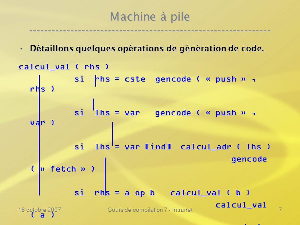 18 octobre 2007Cours de compilation 7 - Intranet7 Machine à pile ---------------------------------------------------------------- Détaillons quelques opérations de génération de code.Détaillons quelques opérations de génération de code.