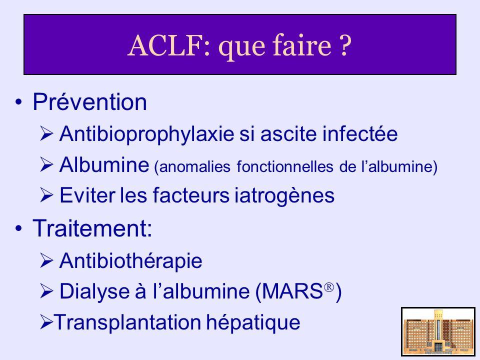 ACLF: que faire ? Prévention Antibioprophylaxie si ascite infectée Albumine (anomalies fonctionnelles de lalbumine) Eviter les facteurs iatrogènes Tra