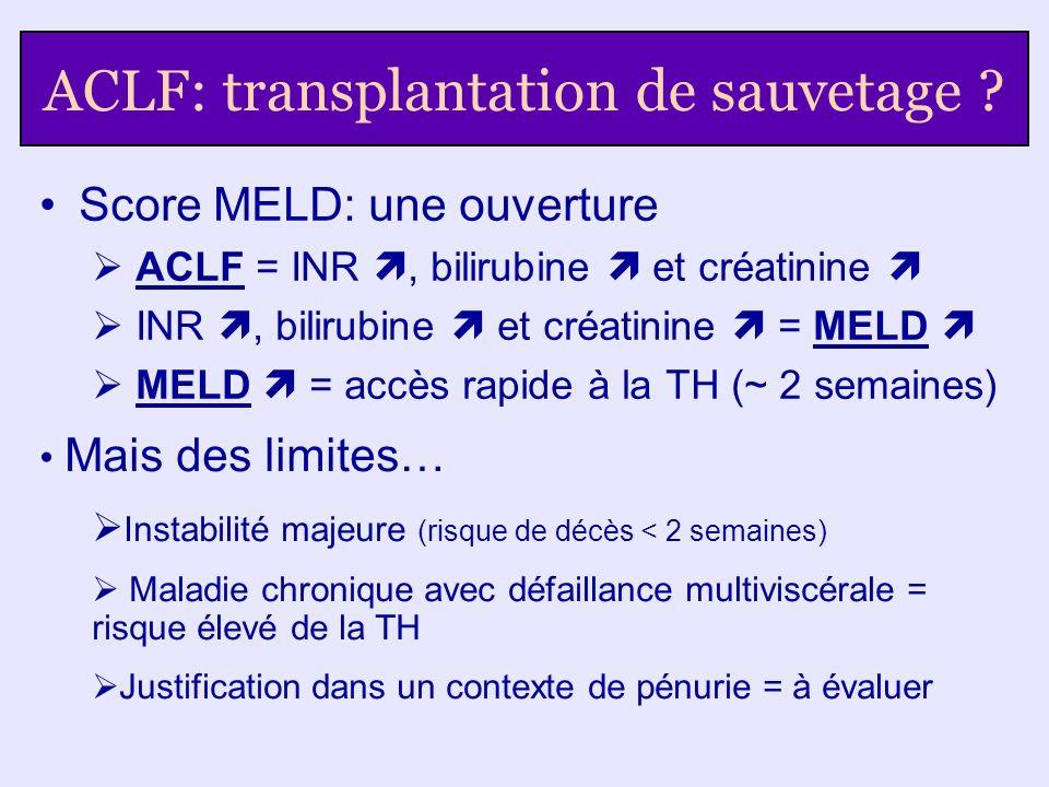 ACLF: transplantation de sauvetage ? Score MELD: une ouverture ACLF = INR, bilirubine et créatinine INR, bilirubine et créatinine = MELD MELD = accès