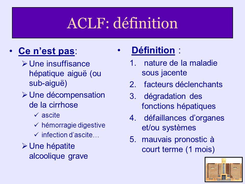 ACLF: définition Ce nest pas: Une insuffisance hépatique aiguë (ou sub-aiguë) Une décompensation de la cirrhose ascite hémorragie digestive infection