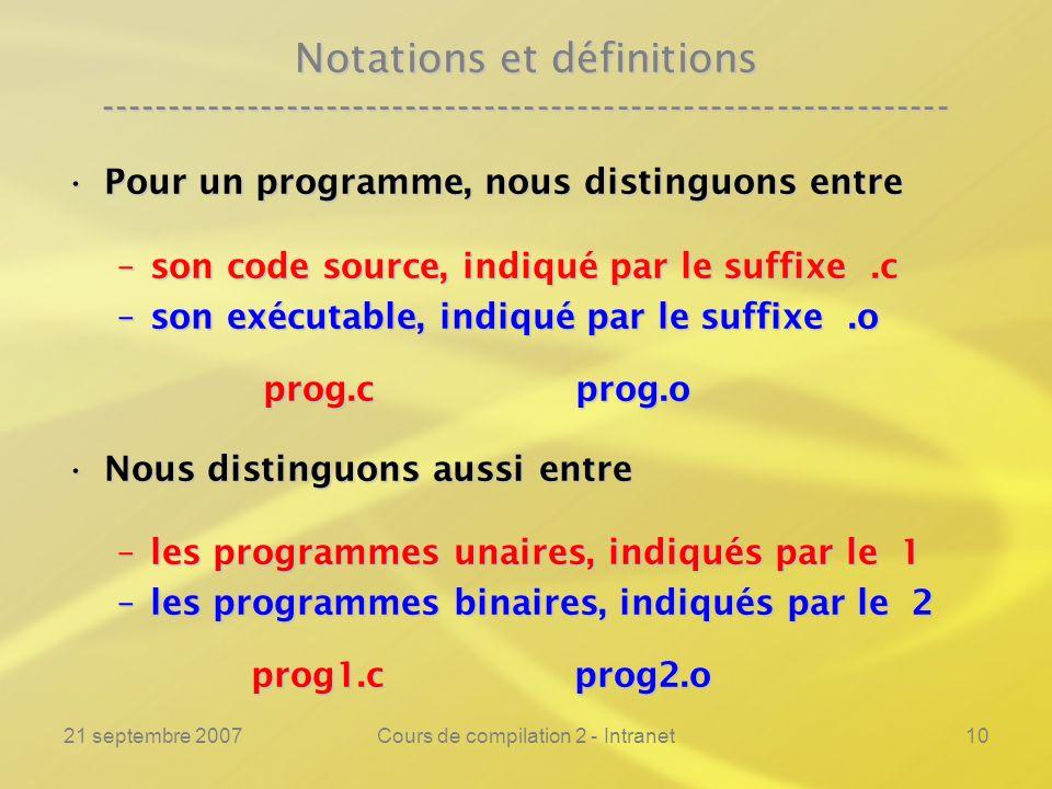 21 septembre 2007Cours de compilation 2 - Intranet10 Notations et définitions ---------------------------------------------------------------- Pour un