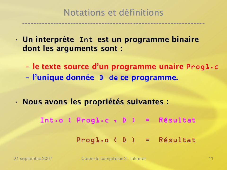 21 septembre 2007Cours de compilation 2 - Intranet11 Notations et définitions ---------------------------------------------------------------- Un inte