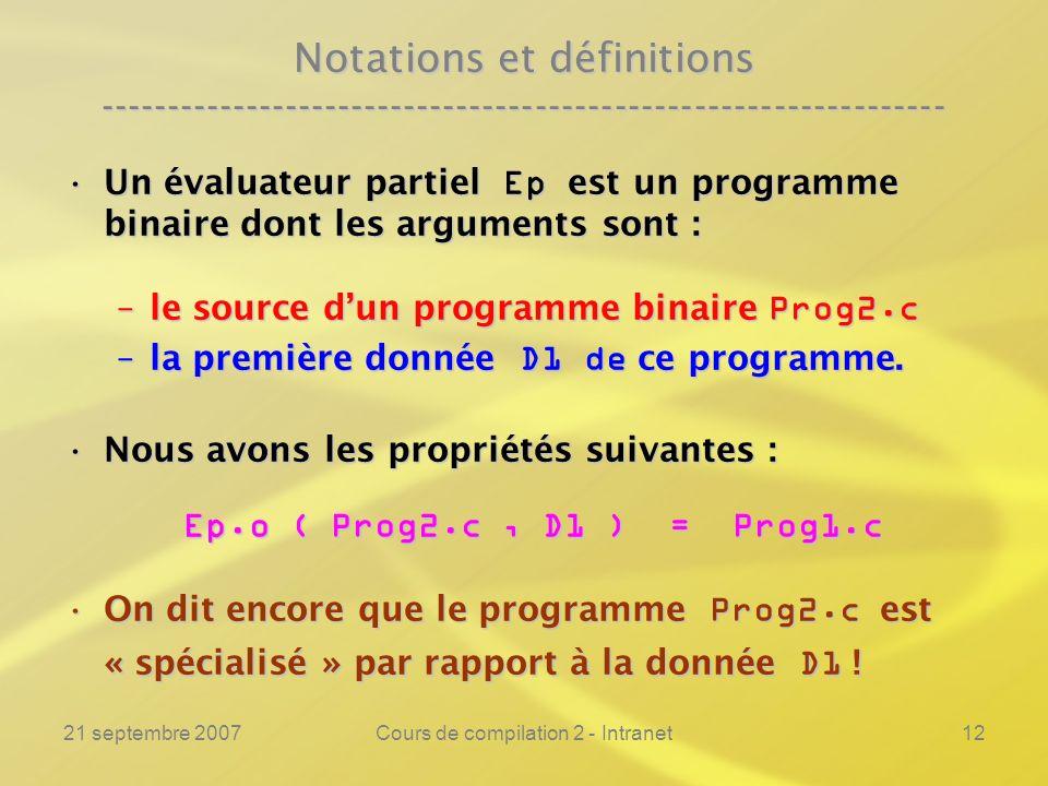 21 septembre 2007Cours de compilation 2 - Intranet12 Notations et définitions ---------------------------------------------------------------- Un éval
