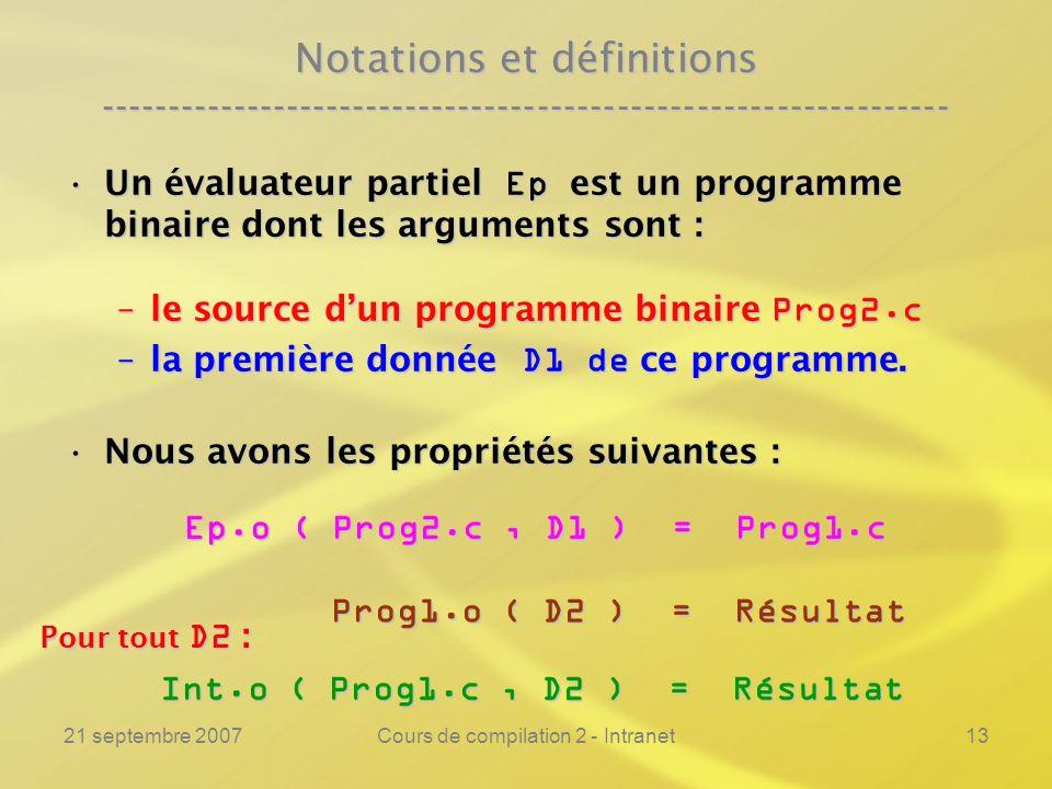21 septembre 2007Cours de compilation 2 - Intranet13 Notations et définitions ---------------------------------------------------------------- Un éval