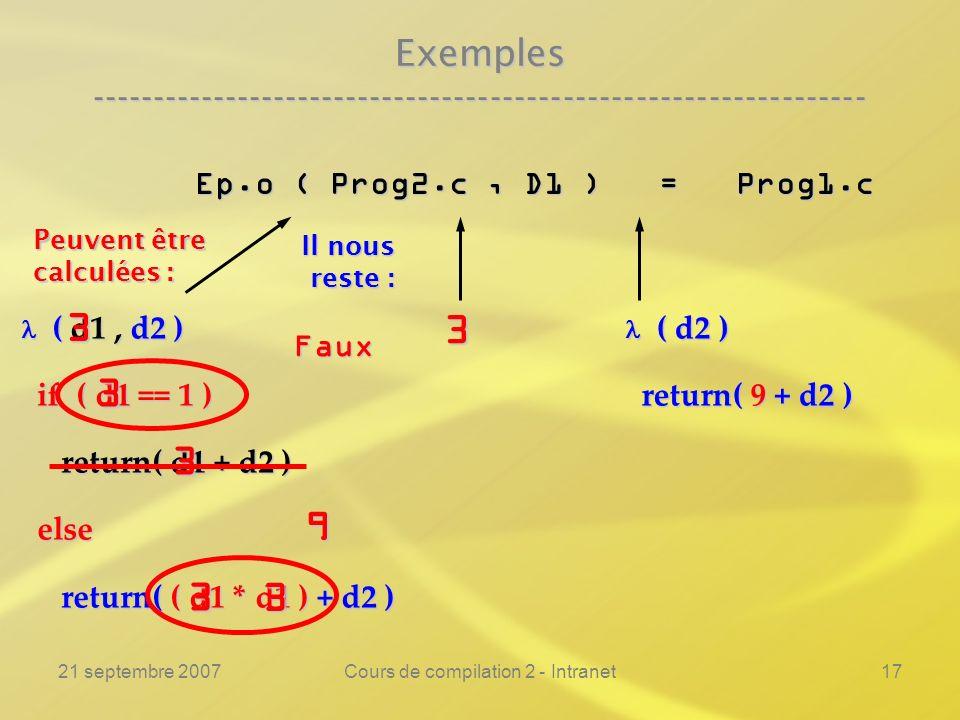 21 septembre 2007Cours de compilation 2 - Intranet17 Exemples ---------------------------------------------------------------- Ep.o ( Prog2.c, D1 ) =