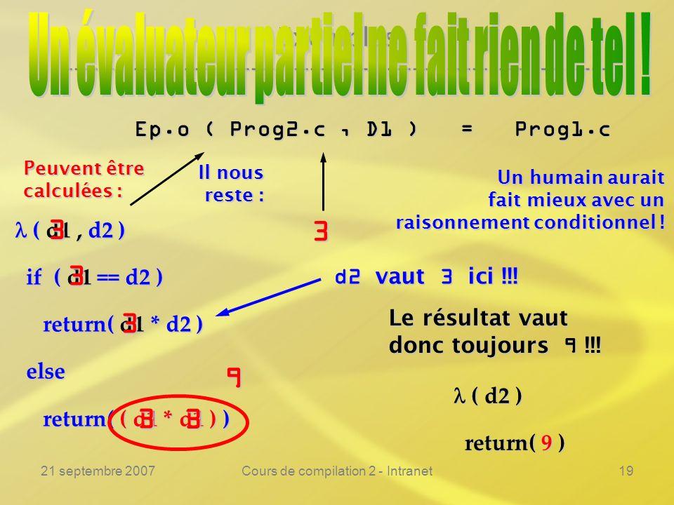 21 septembre 2007Cours de compilation 2 - Intranet19 Exemples ---------------------------------------------------------------- Ep.o ( Prog2.c, D1 ) =