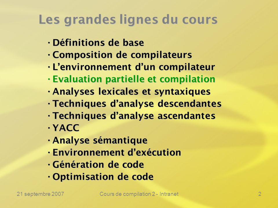 21 septembre 2007Cours de compilation 2 - Intranet2 Les grandes lignes du cours Définitions de base Définitions de base Composition de compilateurs Co