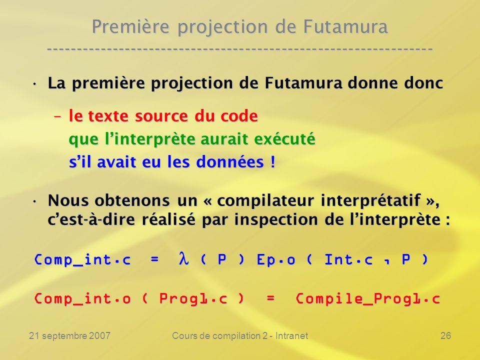 21 septembre 2007Cours de compilation 2 - Intranet26 Première projection de Futamura ----------------------------------------------------------------