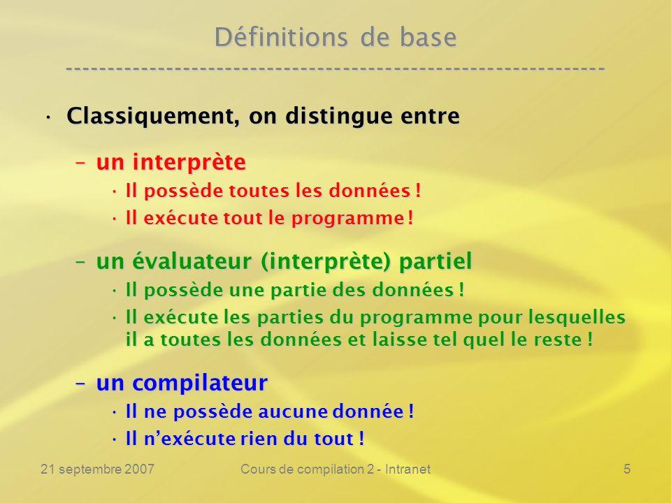 21 septembre 2007Cours de compilation 2 - Intranet5 Définitions de base ---------------------------------------------------------------- Classiquement