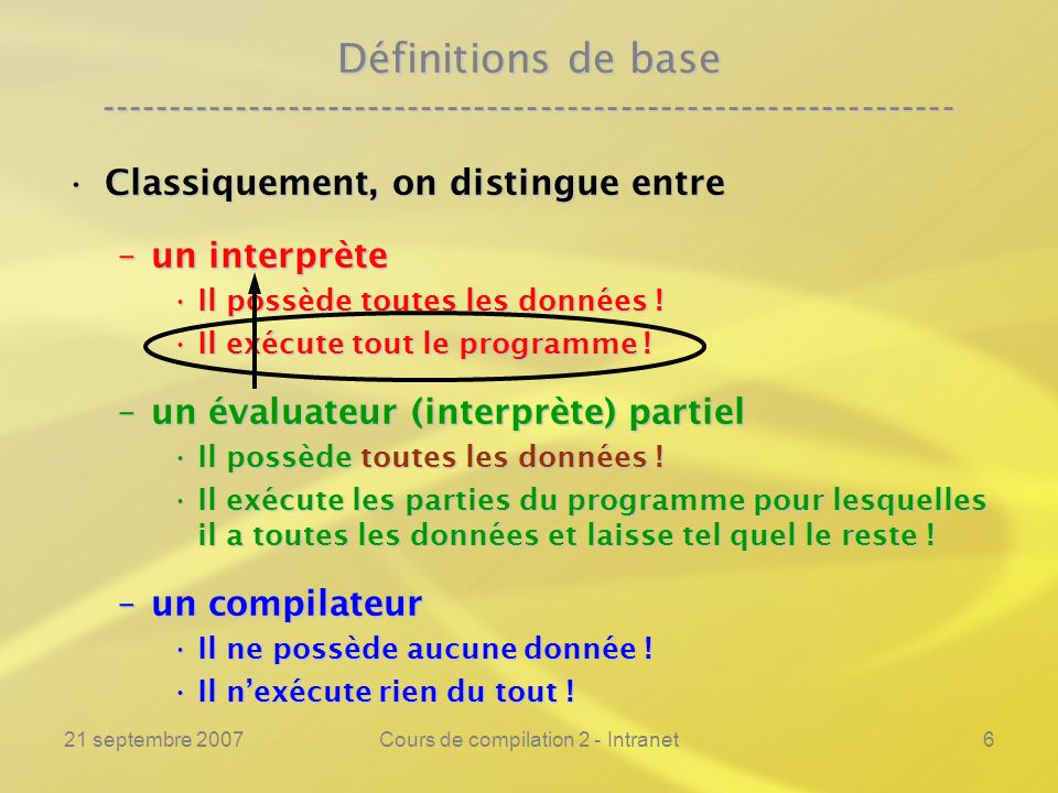 21 septembre 2007Cours de compilation 2 - Intranet6 Définitions de base ---------------------------------------------------------------- Classiquement