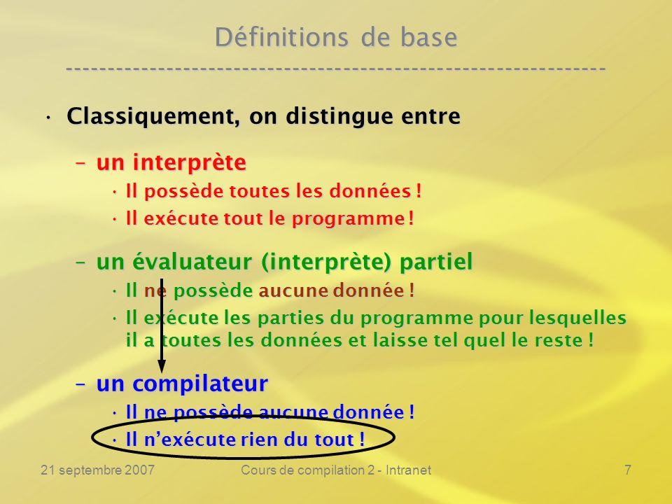 21 septembre 2007Cours de compilation 2 - Intranet7 Définitions de base ---------------------------------------------------------------- Classiquement