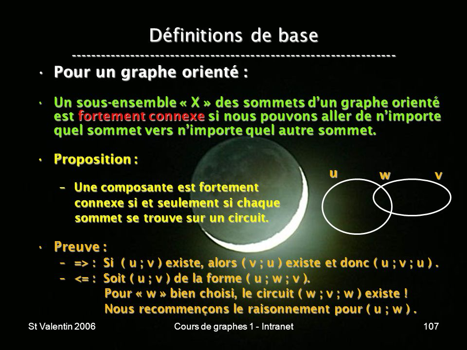 St Valentin 2006Cours de graphes 1 - Intranet107 Définitions de base ----------------------------------------------------------------- Pour un graphe