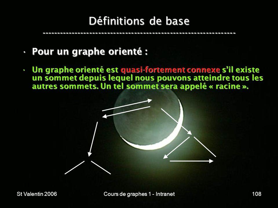 St Valentin 2006Cours de graphes 1 - Intranet108 Définitions de base ----------------------------------------------------------------- Pour un graphe