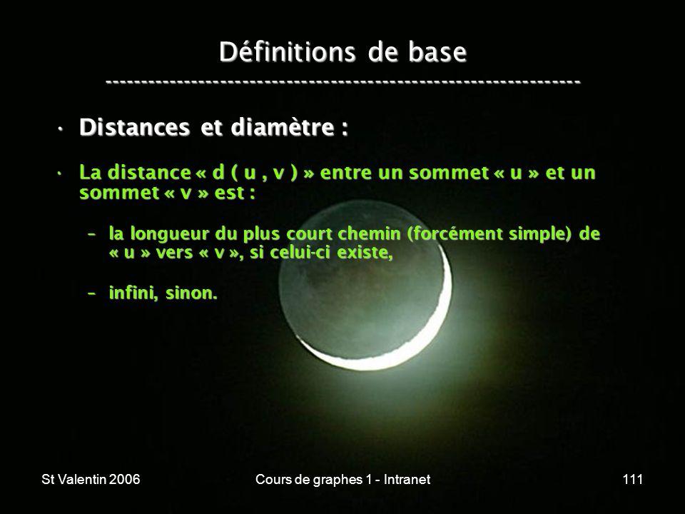 St Valentin 2006Cours de graphes 1 - Intranet111 Définitions de base ----------------------------------------------------------------- Distances et di