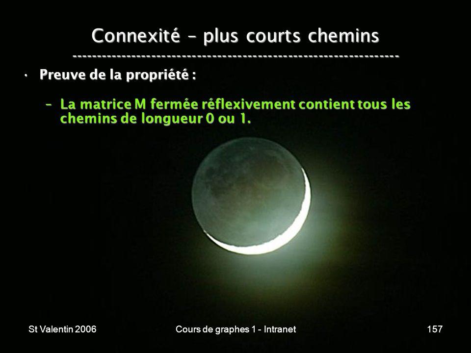 St Valentin 2006Cours de graphes 1 - Intranet157 Connexité – plus courts chemins ----------------------------------------------------------------- Pre