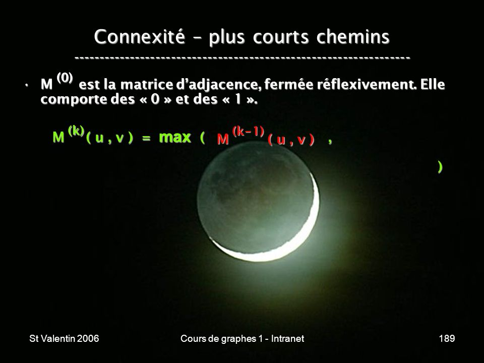 St Valentin 2006Cours de graphes 1 - Intranet189 Connexité – plus courts chemins ----------------------------------------------------------------- M e