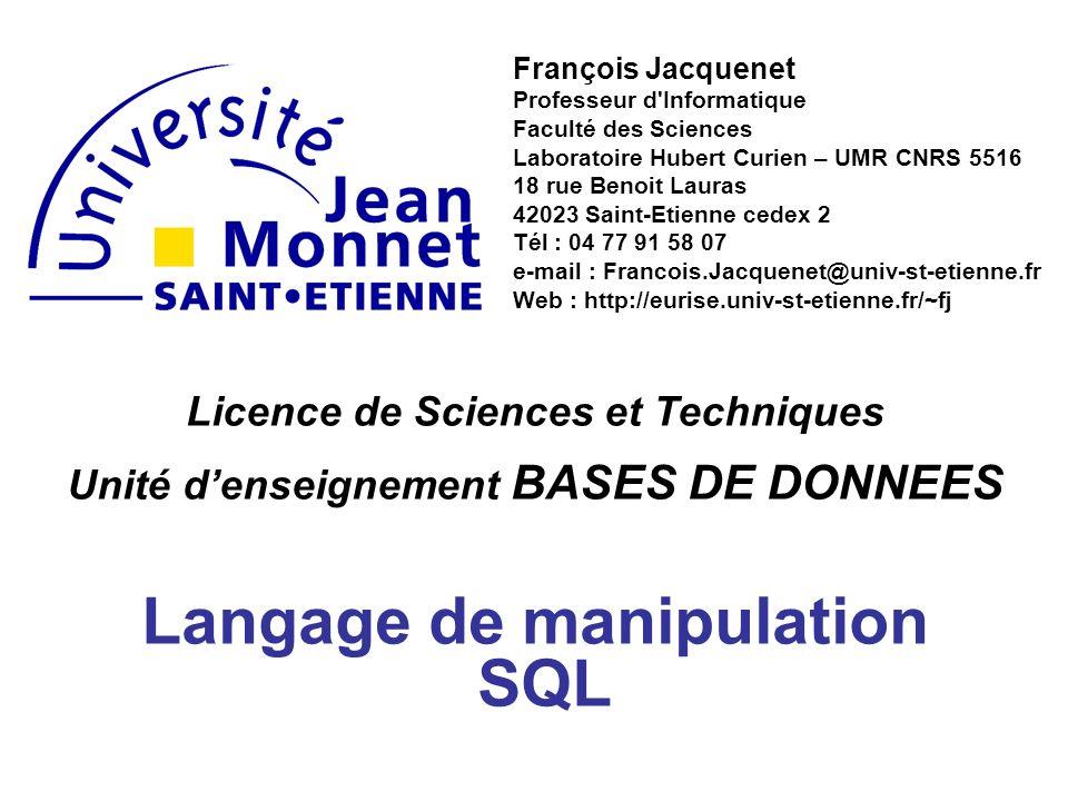 Licence de Sciences et Techniques Unité denseignement BASES DE DONNEES Langage de manipulation SQL François Jacquenet Professeur d'Informatique Facult