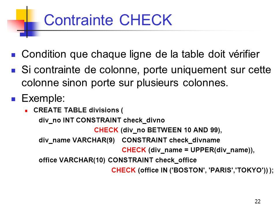 22 Contrainte CHECK Condition que chaque ligne de la table doit vérifier Si contrainte de colonne, porte uniquement sur cette colonne sinon porte sur