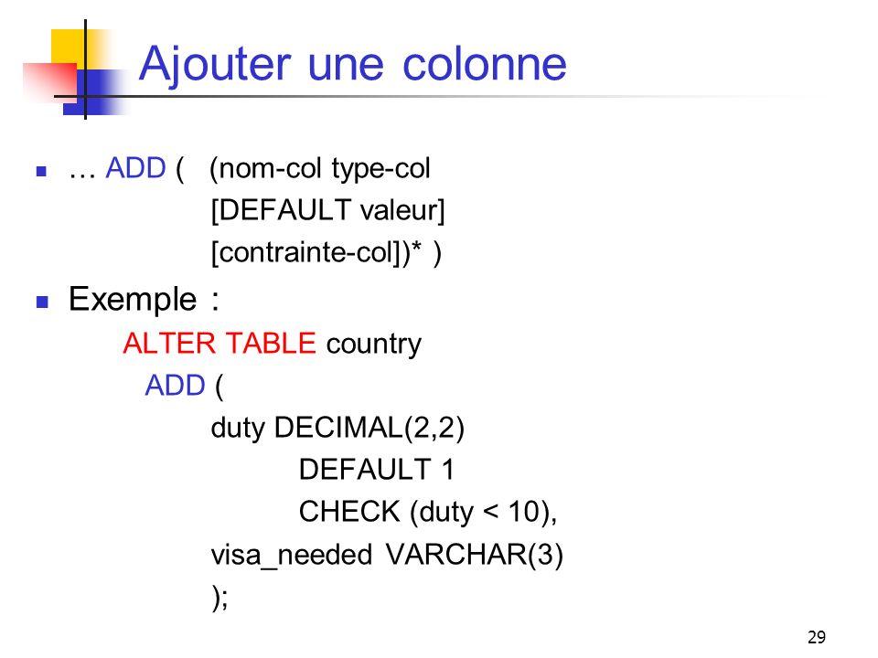 29 Ajouter une colonne … ADD ( (nom-col type-col [DEFAULT valeur] [contrainte-col])* ) Exemple : ALTER TABLE country ADD ( duty DECIMAL(2,2) DEFAULT 1