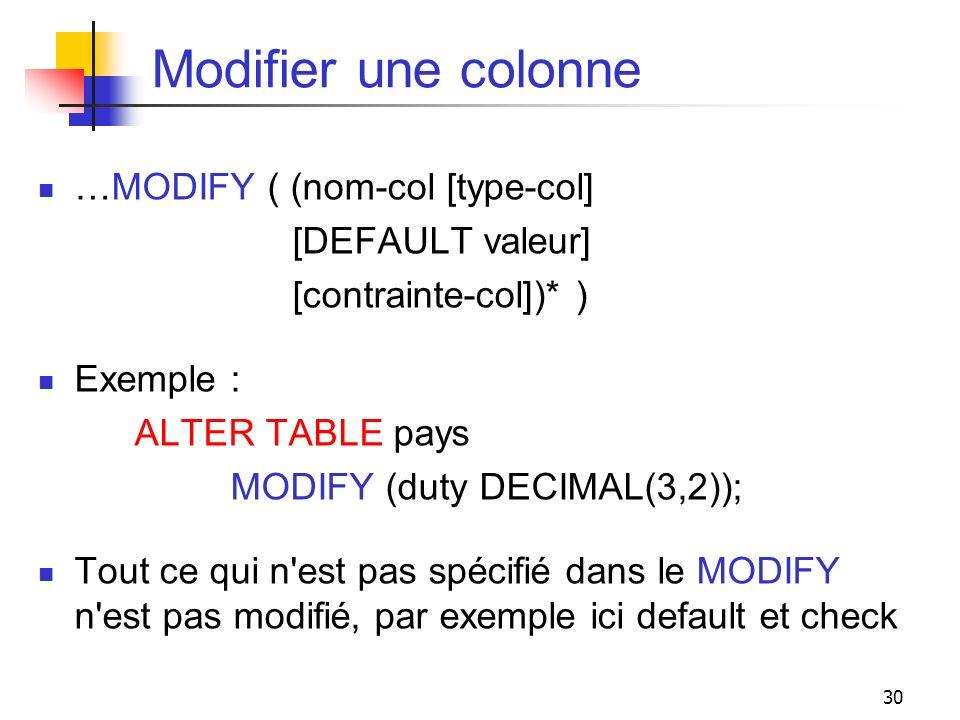 30 Modifier une colonne …MODIFY ( (nom-col [type-col] [DEFAULT valeur] [contrainte-col])* ) Exemple : ALTER TABLE pays MODIFY (duty DECIMAL(3,2)); Tou